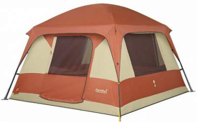 The cabin type Eureka Copper Canyon 6 tent.