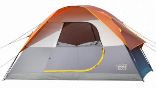 The tent with the fly on and with the door half open.