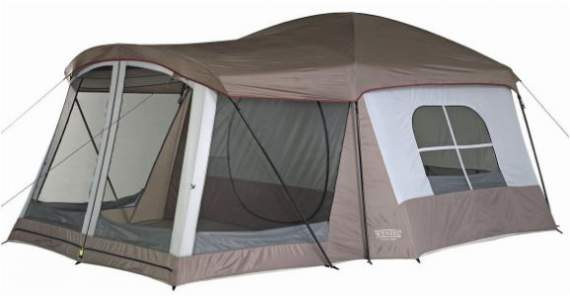 Wenzel 8 Person Klondike Tent with a screened room.
