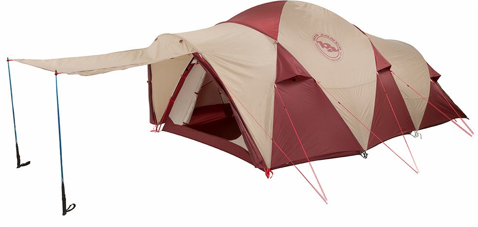 One of the configurations with the awning created by the vestibule flap and the trekking poles.