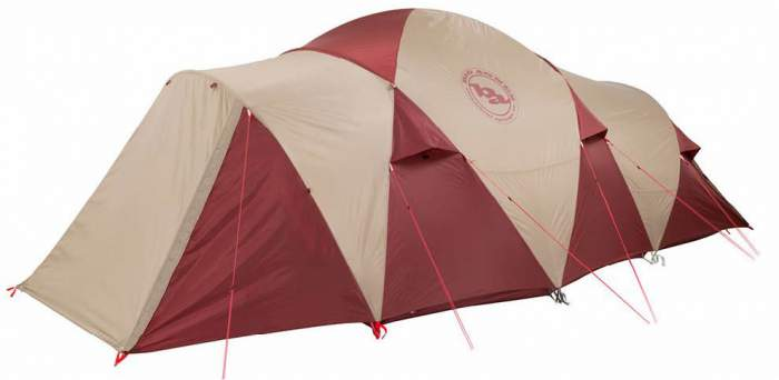 The tent shown with the fly on and the closed vestibules - this is a full protection from elements.