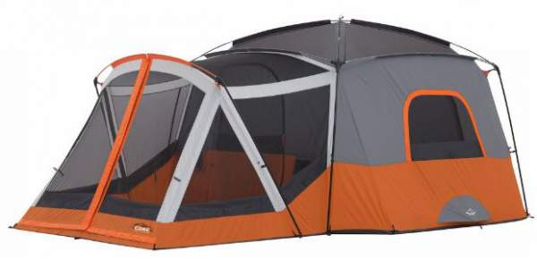 Core 11 Person Cabin Tent with screen room shown here without the fly.
