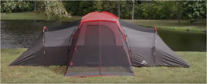 Here is the tent shown without the fly, so the poles are visible and the front screen.