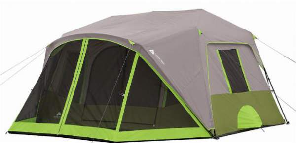 The tent shown with the fly. The screen room is partly protected.
