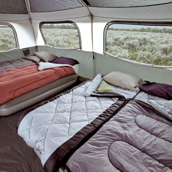 View inside, with two queen size beds.
