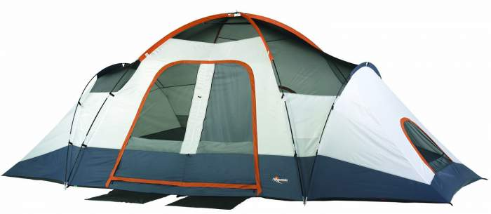 The tent shown without the fly, so the main roof poles in sleeves are visible and the mesh ceiling.