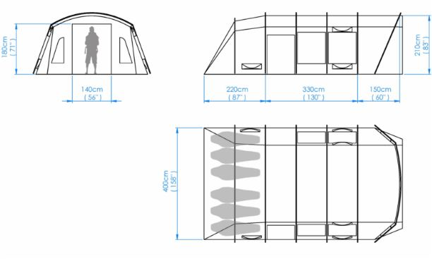 All the dimensions of the Crua Loj 6 tent.