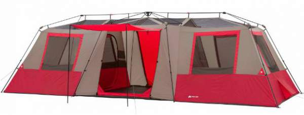 This is the tent shown without fly with mesh on the ceiling visible and the  sc 1 st  Family C&ing Tents & Ozark Trail 15 Person Instant Tent With 3 Rooms - Huge Area ...
