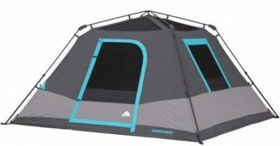 The tent is shown without the fly so the frame is visible. It is pre-attached to the tent.