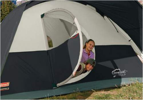 The hinged D-shaped door on the Coleman Montana 8 tent, even a handle is available here.