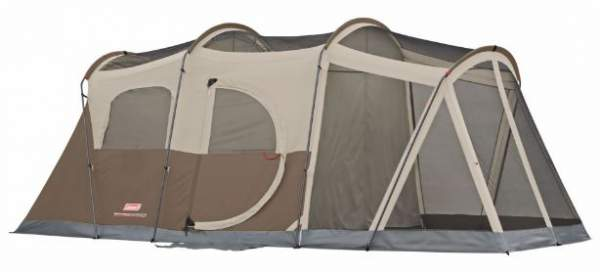 Coleman WeatherMaster 6 Person Screened Tent shown without the fly -the hinged door is on its side.