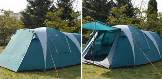 The full coverage fly is designed to create an awning, poles are included.