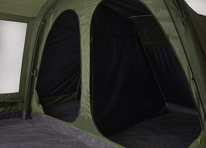 "The inner tent is a ""light-out"" area, with two doors and a divider."