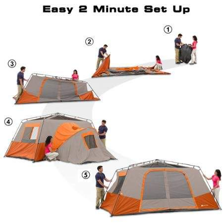 The setup is typical for such an instant tent.