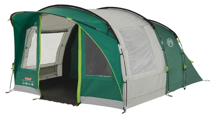 Coleman Rocky Mountain 5+ Tunnel Tent with a sewn-in floor.