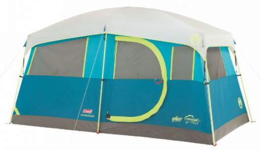 Coleman Tenaya Lake 6 Person Fast Pitch Cabin Tent With Cabinets.