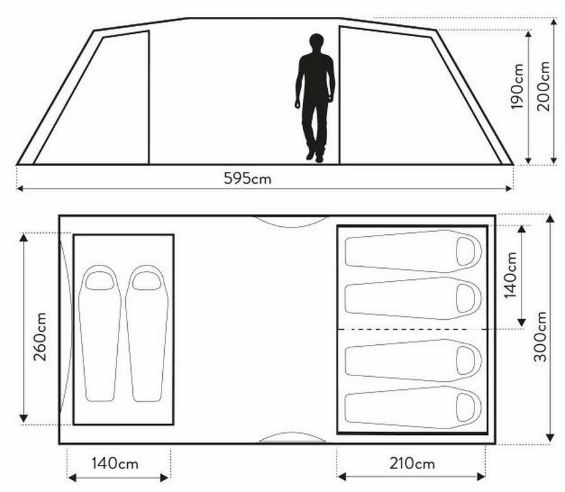 Buckingham 6 Tent - the floor plan and dimensions.