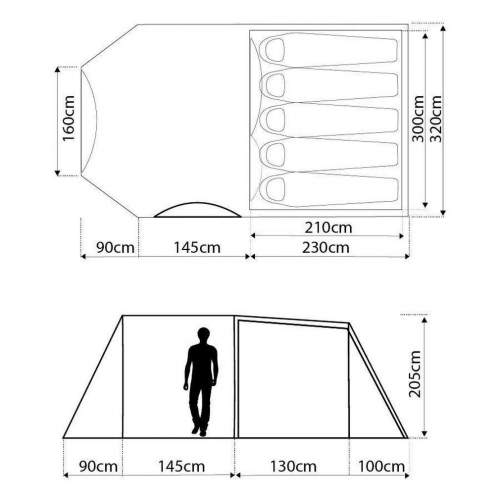 Eurohike Rydal 500 Tent Floor Plan And Dimensions