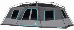 The tent is shown without the fly so you can see its pre-attached frame.