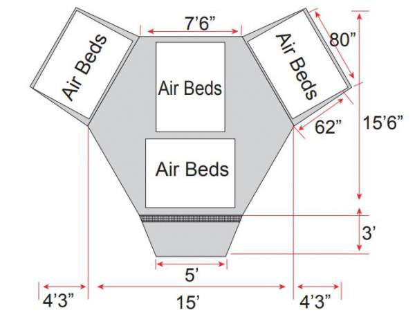 The floor plan and the dimensions.