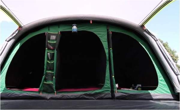 The sleeping zone includes two separate inner tents. Observe the storage pockets.