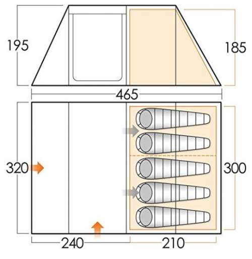 The floor plan and dimensions in cm.