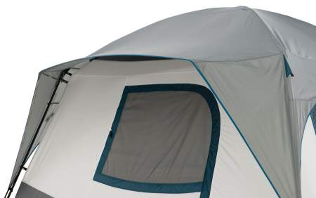 The back awning allows for keeping the window open even when it is raining.