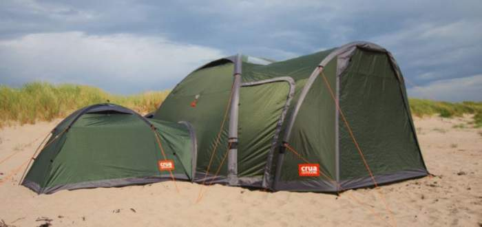 This is the Crua Core 6 tent with its enormous porch, and one Crua Duo tent is attached on the left side.