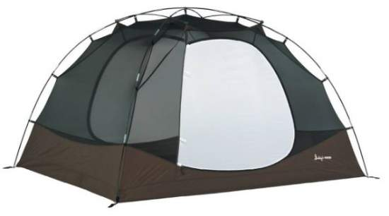 The Trail 6 tent shown without the fly. All 4 poles are visible.