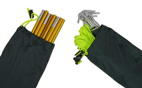 The elements are in separate bags so the weight can be shared among the users on the trail.
