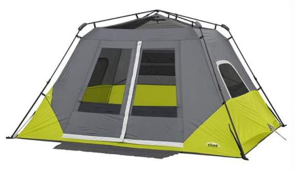 The Core 6 tent shown without the fly. The frame is preattached to the tent.