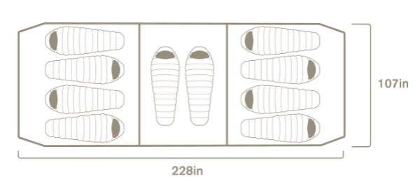 The suggested way of using the tent and the dimensions.