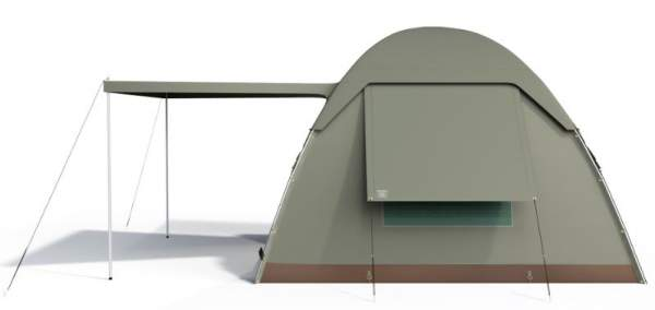 Side view showing the partial coverage fly which extends to the awning. Note the side window (one of the two).