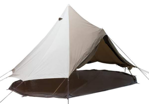 The floor is unzipped completely to use the tent as a canopy only.