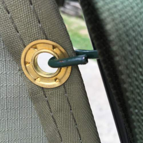 Brass eyelets and strong stitching.