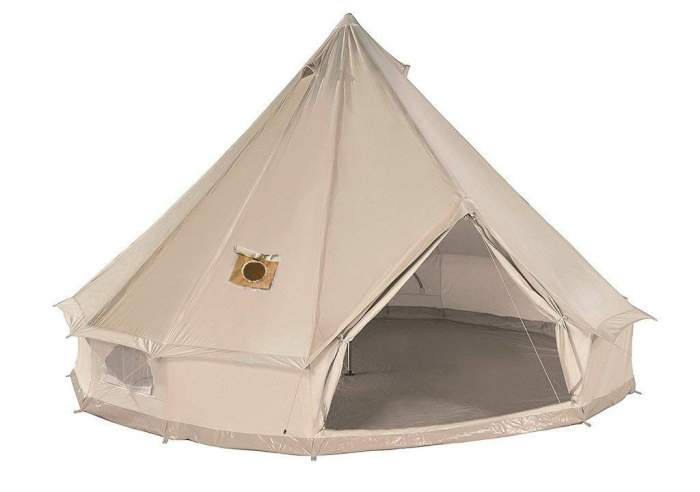 A bell type tent - DANCHEL Cotton Bell Tent with two stove jackets.