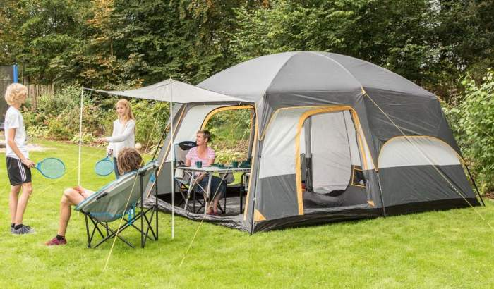 Pleasant tent for family camping with an awning and a partial coverage fly.
