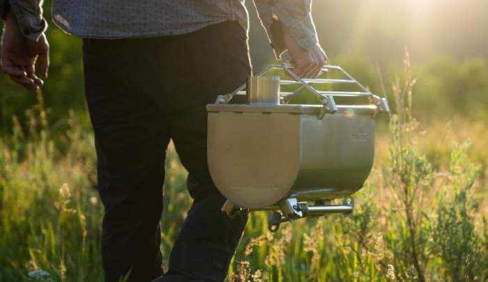 An example of a nicely portable wood camping stove.
