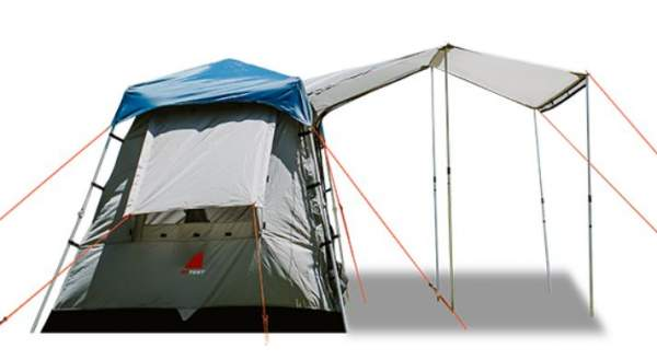 Side view - only 2 awning poles in the package, the other 2 can be ordered.