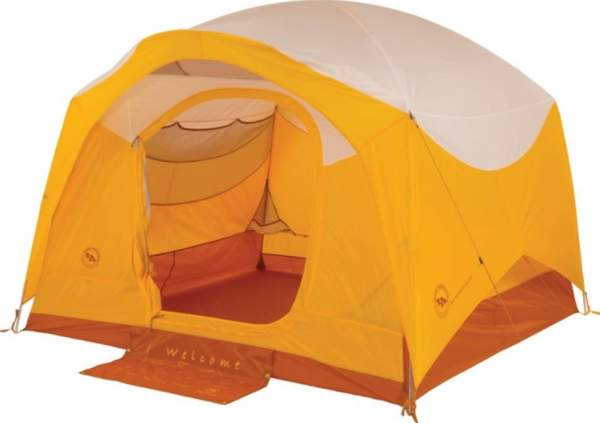 Big Agnes Big House Deluxe Camping 6 person tent - the front door with a welcome mat.