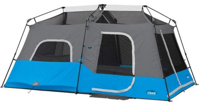 The CORE Lighted 9 tent shown without the fly.