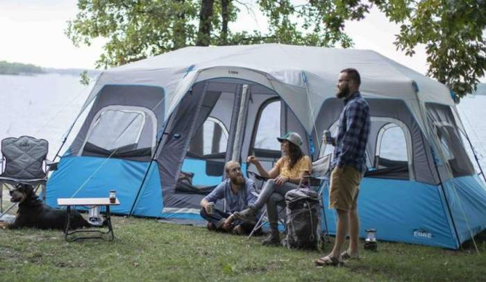 Core Lighted 12 Person Instant Cabin Tent 3 Rooms