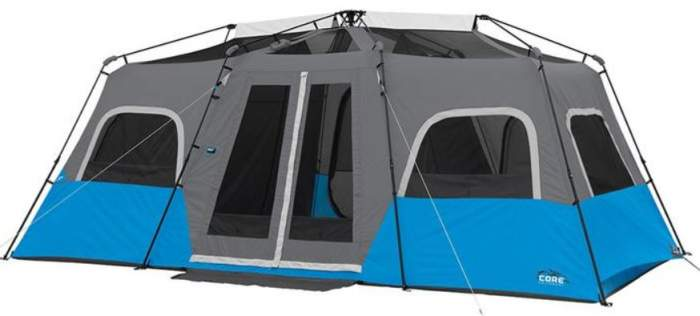 Core Lighted 12 Person Instant Cabin Tent shown without the fly.