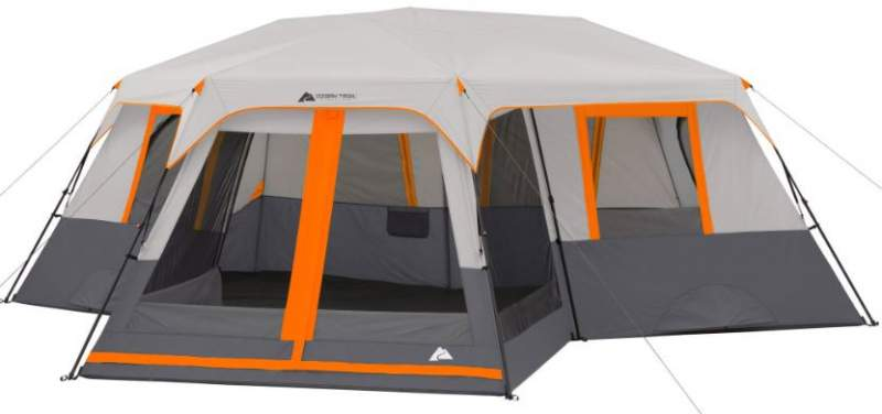 Ozark Trail 12-Person 3-Room Instant Cabin Tent with Screen Room.