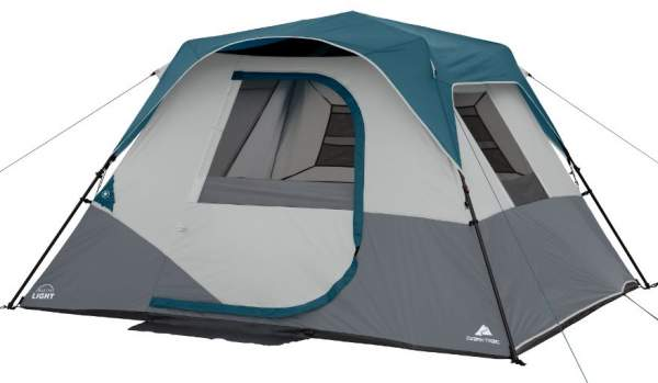 Ozark Trail 6 Person Instant Cabin Tent with Light shown with the fly attached.