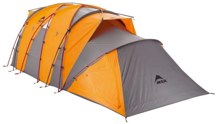 The accessory gear shed can be zipped up to the tent.