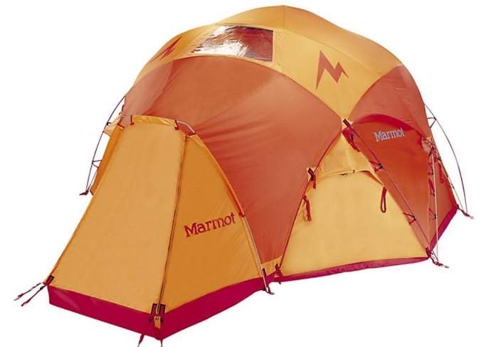 Marmot Lair 8 Person Tent shown with the fly.