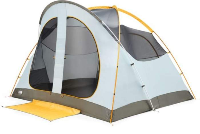 The North Face Kaiju 6 tent shown without the fly.