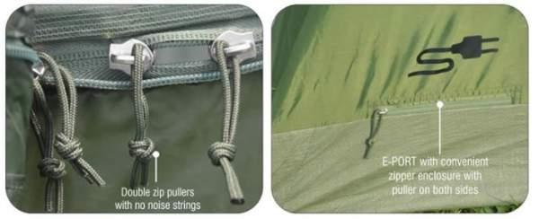 Two way zipper is on the door.