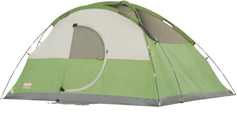 The hinged door and the tent shown without the fly.
